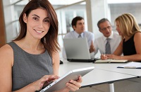 A sales executive working on forecasting software